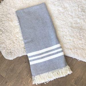 Other - Throw blanket grey cream with fringe 52x56 EUC